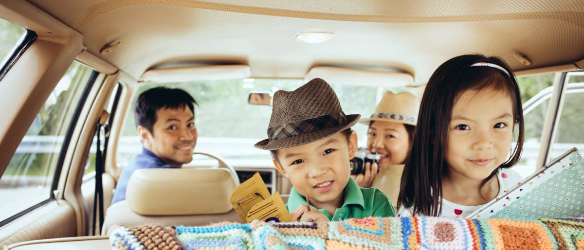 Family are traveling by car, image used for HSBC Value term life insurance products